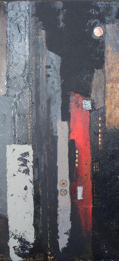 "http://chalang.wordpress.com .""sky line ""mix media detail by Chantal Lang"