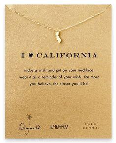 Dogeared Make a Wish I Heart California Gold Necklace by Sundance Beach