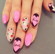 Top 100 Latest Nail Art Designs Gallery closest to your heart - fashonails Sexy Nails, Kiss Nails, Stiletto Nails, Love Nails, Trendy Nails, Fun Nails, Nail Art Design Gallery, Cute Nail Art Designs, Beautiful Nail Designs