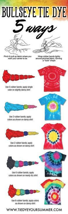 It's so easy to get the bullseye tie dye design. Create your very own custom shi… It's so easy to get the bullseye tie dye design. Create your very own custom shirt using Tulip One-Step tie dye and make this awesome pattern technique on a basic tee! Fête Tie Dye, Tie Dye Party, How To Tie Dye, Tye Dye, Diy Tie Dye Shirts, Diy Shirt, Tee Shirts, Tie Dye Crafts, Tie Dye Techniques