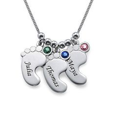 Mom jewelry - #engraved baby feet #necklace with #birthstones - customize it!, View more on the LINK: http://www.zeppy.io/product/gb/2/191418867903/