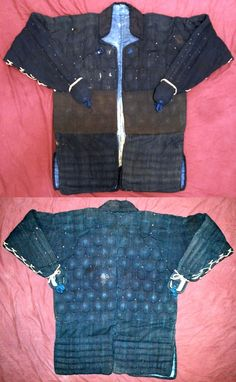 Tetsu yoroi tatami katabira (coat with metal armor plates), a lightweight, portable folding armor, yoroi katabira could be folded up to fit into a small container for easy transport. Tekko armor plates protect the hands, shino splints on the forearms, square / rectangle karuta armor plates along the shoulders and the lower third of the body, kikko hexagon armor plates on the upper two thirds of the body, 8lbs. The armor plates are sewn between layers of cloth.
