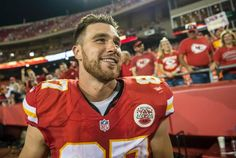 Kansas City Chiefs tight end Travis Kelce (87) smiled at the conclusion of the Chiefs' 41-14 win over the New England Patriots at Arrowhead Stadium in Kansas City, Mo. on Monday night, September 29, 2014.