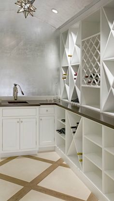 Suzie: Kathleen Hay Design - Stunning wine room with silver leaf walls & ceiling, Moravian Star ...