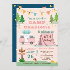 Girls Camping Birthday Outdoors Camp Out Party Invitation 11th Birthday, 6th Birthday Parties, Birthday Party Decorations, Birthday Ideas, Camping Party Decorations, Hunting Birthday, Happy Birthday, Unicorn Birthday, Camping Birthday Invitations