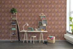Could you imagine the leather wallpaper! Tactile people will want to run their hand over this natural looking leather wallpaper. The wallpaper is of course made out of paper, but for those of you who want to decorate with natural materials, this is an amazing wallpaper. Cut-outs of rhombs fastened with leader string. Gorgeous! Можете ли вы представить натуральные обои из кожи! Люди, больше воспринимающие мир тактильно точно захотят потрогать такие обои. Они, конечно, сделаны из бумаги, но…