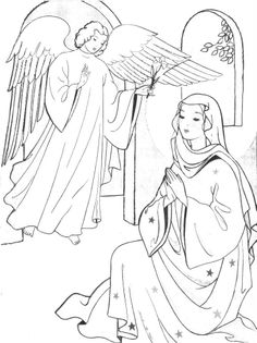 Coloring festival: Free coloring pages of the annunciation Cross Coloring Page, Bible Coloring Pages, Coloring Books, Feast Of The Annunciation, Sunday School Coloring Pages, Coloring Sheets For Kids, Immaculate Conception, Catholic Kids, Bible Crafts