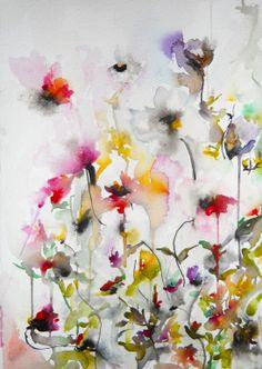 "Saatchi Online Artist: Karin Johannesson; Watercolor 2013 Painting ""Gardenia V"""