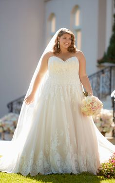 This romantic plus size ball gown with sophisticated scalloped lace edge is a classic combination, a princess bride's dream come true!