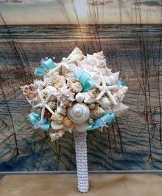 The Aqua Beach Bride Bouquet, A Seashell Bouquet, Bridal Bouquet, Beach Bouquet, Tropical Bouquet, Destination ,Seaside , Made to Order