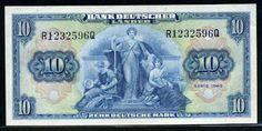 German banknotes 10 Deutsche Mark banknote of 1949 Bank Deutscher Lander