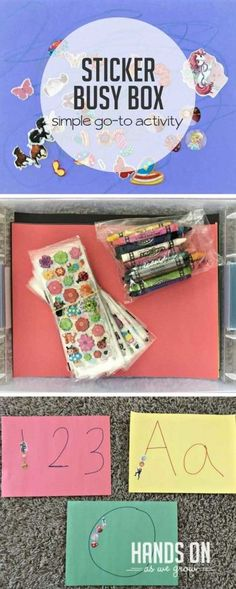 Keep your children creatively entertained with an easy DIY sticker busy box! Use supplies you already have to build your own quiet time activity for your kids. Quiet Time Activities, Toddler Learning Activities, Toddler Preschool, Preschool Activities, Motor Activities, Nanny Activities, Toddler Games, Summer Activities, Quiet Time Boxes