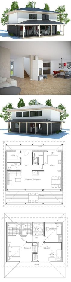 Small House Plan with open and efficient room planning. Three bedrooms, big windows in the living room. Small home design with covered terrace. Floor Plan from | http://home-design-collections.lemoncoin.org