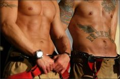 """'Tudes and tatts? Check and check. """" - (from Jill Shalvis' FB Man Wars with Kristan Higgins) Gorgeous Men, Beautiful People, Beautiful Things, Hot Firefighters, Firemen Hot, Jill Shalvis, Thing 1, Men In Uniform, Raining Men"""