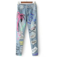 SheIn(sheinside) Graffiti Print Ripped Detail Jeans ($33) ❤ liked on Polyvore featuring jeans, blue, blue ripped jeans, distressing jeans, ripped jeans, destroyed jeans and torn jeans