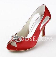 Women's Satin Stiletto Heel Peep Toe Sandals With Rhinestone (047011841)