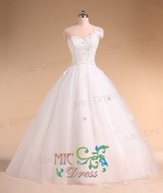 One shoulder sleeveless floor-length tulle with appliques and flowers wedding dress