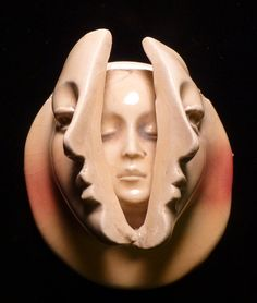 This face is now available on Etsy. Handmade ceramic face the woman within mask beading jewelry