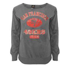 San Francisco 49ers Juniors Flashdance Off-the-Shoulder Sweatshirt - Gray