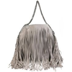 Stella McCartney Falabella Fringed Tote ($1,955) ❤ liked on Polyvore featuring bags, handbags, tote bags, grey, genuine leather tote, gray tote, leather tote bags, fringe purse and grey leather tote