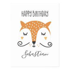 Cute Fox Mustache Illustration Postcard - postcard post card postcards unique diy cyo customize personalize