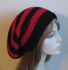 Black and Red Slouchy Beanie Dread Sock Tam by CrochetbyDeniseBlack for $22.00