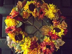 Fall Sunflower Wreath Grapevine Filled with by BlessMyNestShop, $60.00