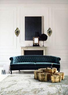 Love the deep teal blue velvet couch