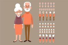 Old man and woman characters by Vector_Art on Man Character, Character Poses, Character Creation, Character Concept, Character Design, Doodle Characters, Female Characters, Man Illustration, Character Illustration