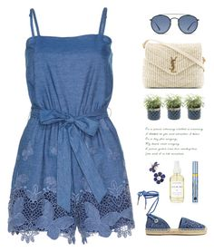 """Summer Picnic"" by catchsomeraes ❤ liked on Polyvore featuring Alice + Olivia, Yves Saint Laurent, MICHAEL Michael Kors, Ray-Ban, A Weathered Penny, Estée Lauder, Summer, picnic, espadrilles and romper"