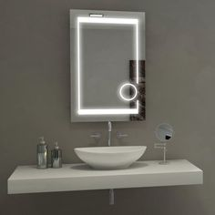 Led Bathroom Mirror Aurora Illuminated with Magnifcation Circle Paris Mirror lighted wall Trends Show Discount Coupon Online Reseller Led Mirror, Mirror With Lights, Mirror Bathroom, Lighted Mirror, Bathroom Ideas, Bathroom Vanities, Modern White Bathroom, Rustic Bathrooms, Fashion Kids