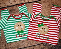 Gingerbread man Christmas pajamas red white green stripes sibling twins boy girl embroidered twins personalized monogram newborn baby