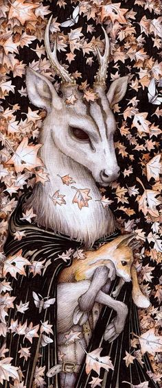 'The Fall' by Adam Oehlers pen and watercolour on paper 137mm x 326mm #illustration #animals #autumn