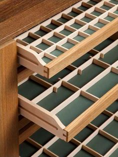 The drawers have drop-in dividers Woodworking Shop, Woodworking Plans, Woodworking Projects, Woodworking Videos, Fine Furniture, Furniture Making, Furniture Design, Jewelry Closet, Jewellery Storage