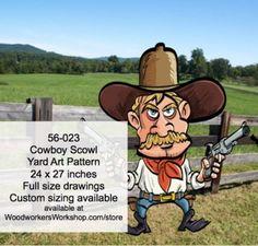 56-023 - Cowboy Scowl Yard Art Woodworking Pattern