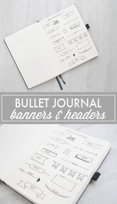 A roundup of some of my favorite bullet journal headers and bullet journal banners - both simple and beautiful. Bullet Journal Headers, Bullet Journal Printables, Bullet Journal Hacks, Bullet Journal How To Start A, Bullet Journal Layout, Bullet Journal Inspiration, Journal Ideas, Bullet Journals, Journal Art