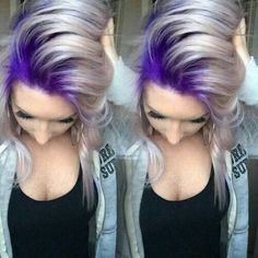 I actually really like this.. silver hair with purple roots, purple hair, silver hair, ash hair color..