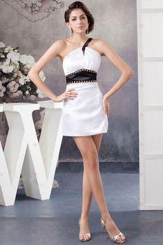 Sexy Column One-Schulter White Satin Kristall Bund Zipper Zurück Cocktail-Kleider138,92 €   79,38 €