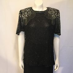Black Silver Silk Beaded Shirt Top Size L by CarolinaThriftChick $39.00