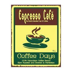 Espresso Cafe Vintage Metal Art Coffee Shop Diner Retro