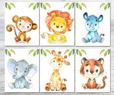 canvas set of 6 safari Nursery Decor, Safari Nursery Print Jungle anijmals poster, baby Boy Nursery Animal Baby Animal Prints