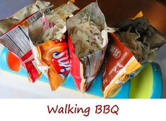 Walking BBQ is a take on the classic Walking Tacos, which are Fritos topped with taco meat. It consists of Fritos topped with. you guessed it. Cooking For A Group, Cooking With Kids, Fun Cooking, Cooking Recipes, Cooking Cake, Cooking Bacon, Walking Tacos, Cooking Gadgets, Cooking Tools