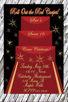 Gold stars and the Red Carpet are a great combination for this Sweet 16 Invitation. This is the perfect invitation for a Quinceanera Party or a
