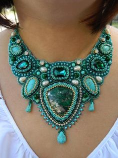 Green bead embroidered necklace Turquoise chunky bib necklace for women Malachite statement necklace hashtags Handmade Statement Necklace, Gold Bar Necklace, Cluster Necklace, Handmade Necklaces, Turquoise Necklace, Handmade Jewelry, Statement Necklaces, Pendant Necklace, Bead Embroidery Jewelry