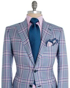 Andrea Campagna Pink and Blue Plaid Dapper Gentleman, Gentleman Style, Sharp Dressed Man, Well Dressed Men, Mens Fashion Suits, Mens Suits, Men's Fashion, Mode Chic, Suit And Tie