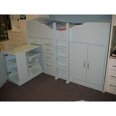High Sleeper Cabin Bed with Raised Ladder, Storage, Desk and Stool