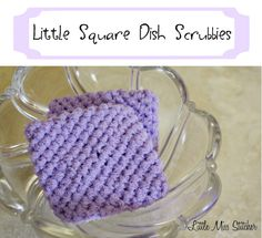 Little Crochet Square Scrubbie Free Pattern. These are so easy, inexpensive, perfect for gifts and the best thing ever for cleaning dishes!