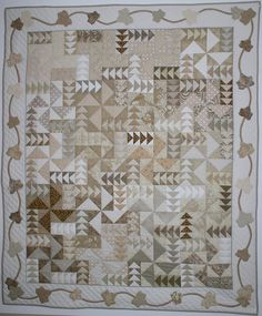 Falling Leaves Quilt Pattern - Try a neutrals quilt. This unique pattern celebrates the richness of monochromatic colors. It is made from assorted scraps, in a neutral palette. Monochromatic Quilt, Neutral Quilt, Low Volume Quilt, Flying Geese Quilt, Quilt Modernen, Patchwork Quilt Patterns, Quilting Patterns, Quilting Designs, Quilting Ideas