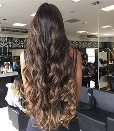 // thick hair and this length Brown Hair Balayage, Hair Highlights, Ombre Hair, Long Curly Hair, Curly Hair Styles, Thick Hair, Beautiful Hair Color, Brunette Hair, Bad Hair