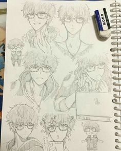 707, Luciel, Saeyoung Choi, drawings, collage, funny, text; Mystic Messenger
